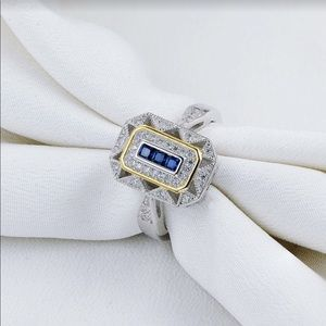 ✅🌹925 Sterling Silver Yellow Blue Sapphire Ring.